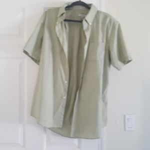 Short sleeve mens green dress shirt